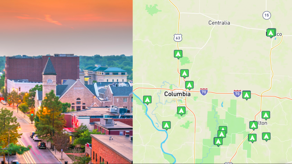side by side images of Columbia, Missouri and a map of Columbia, Missouri
