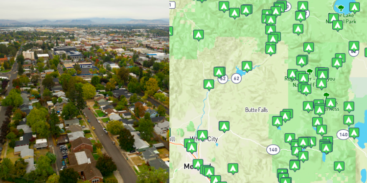 side by side images of Medford Oregon and a map of Medford, Oreogn
