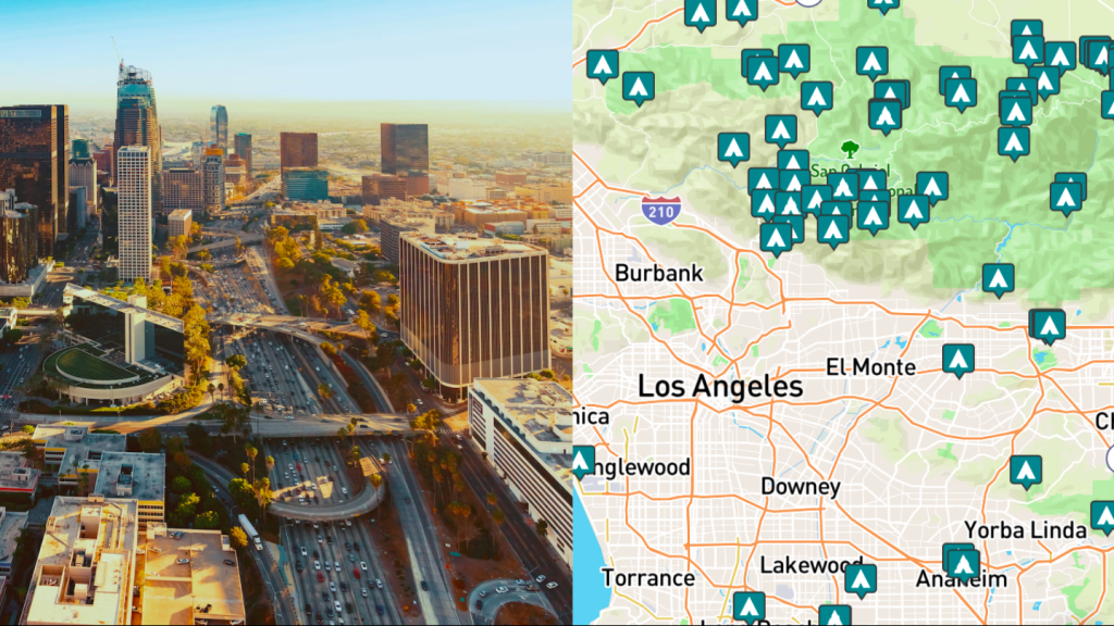 side-by-side images of downtown Los Angeles and a map of campgrounds around Los Angeles