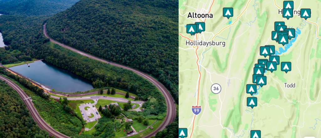 side-by-side images of altoona, pennsylvania and a map of campgrounds near Altoona, Pennsylvani