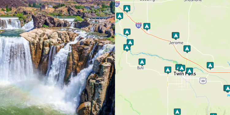 side by side of shoshone falls and a map of twin falls idaho
