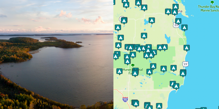 side-by-side images of lake huron shore and maps of campgrounds around lake huron