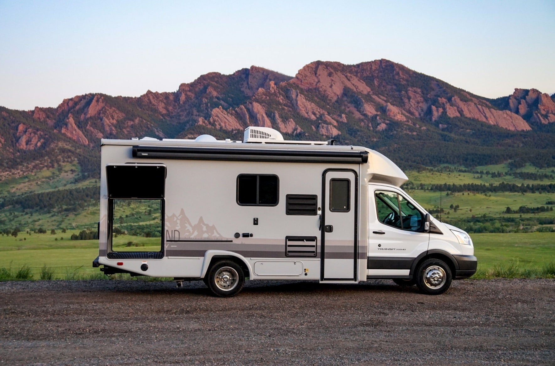 Compact RV rental in the mountains.
