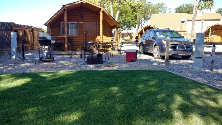 cabin and outdoor table outfront