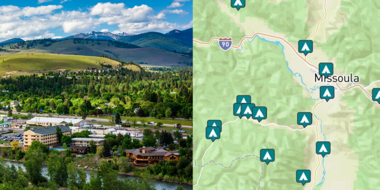 side-by-side images of Missoula Montana and a map of campground around Missoula