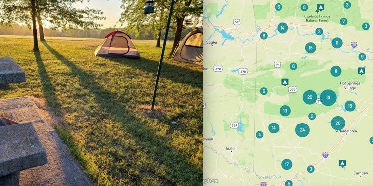 Campsite and map of western Arkansas camping.