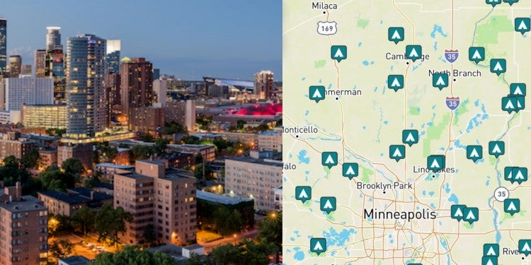 side by side images of downtown Minneapolis and campgrounds around Minneapolis