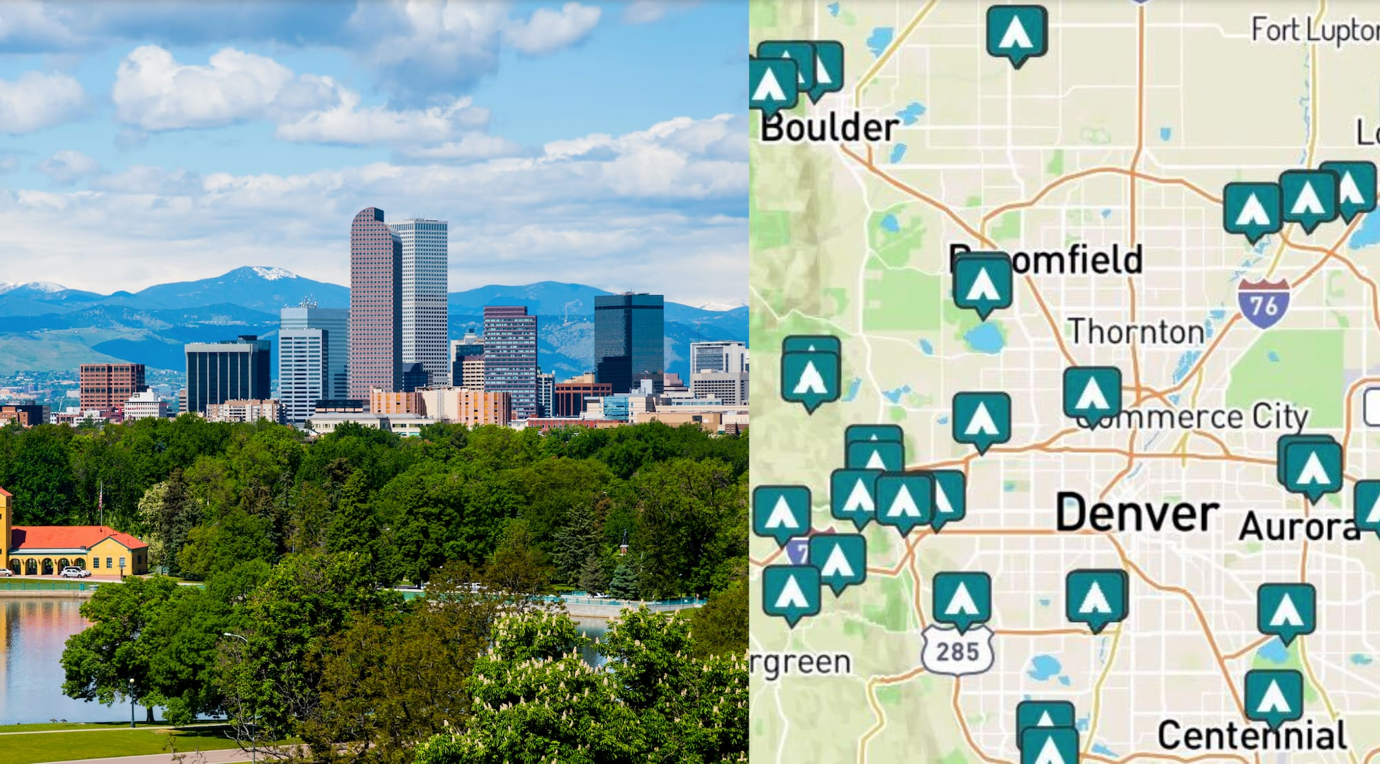 side-by-side images of Denver and a map of campgrounds near Denver