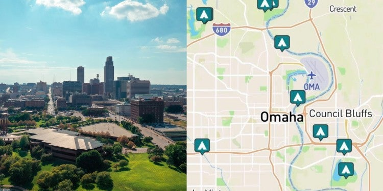 side-by-side image of Omah and map of campground near Omaha