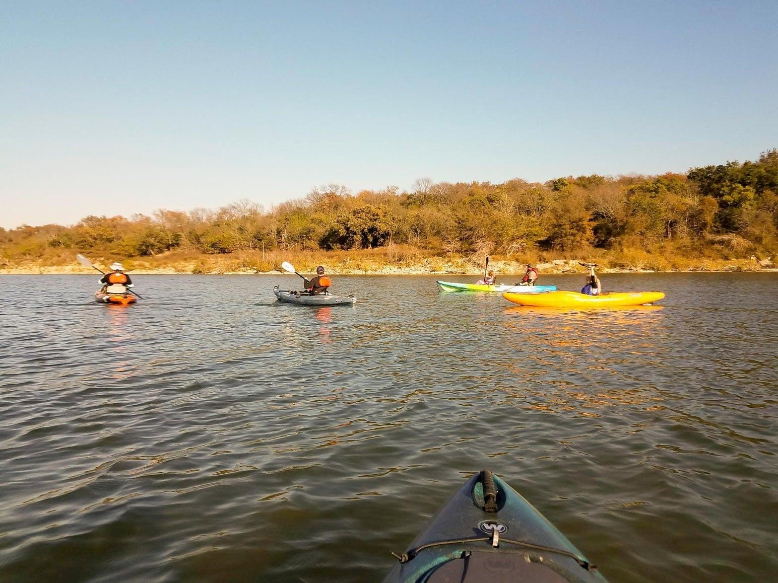 Kayakers along Lake Texoma.