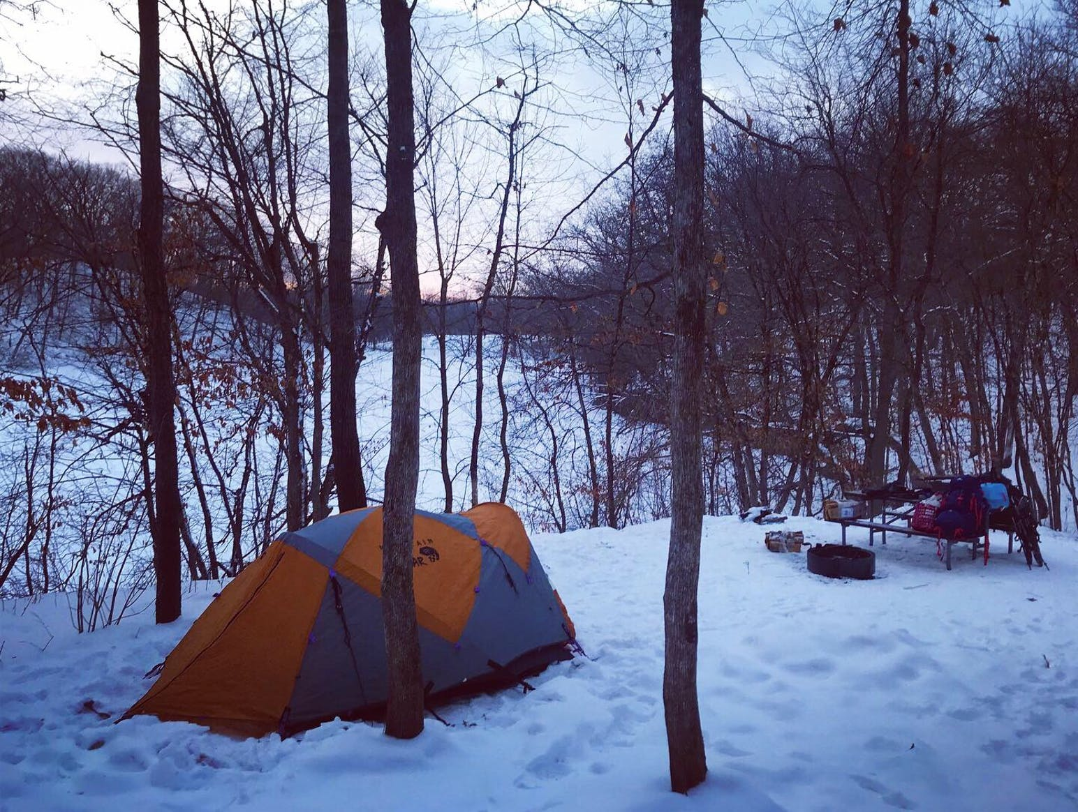 tent in snow in forest