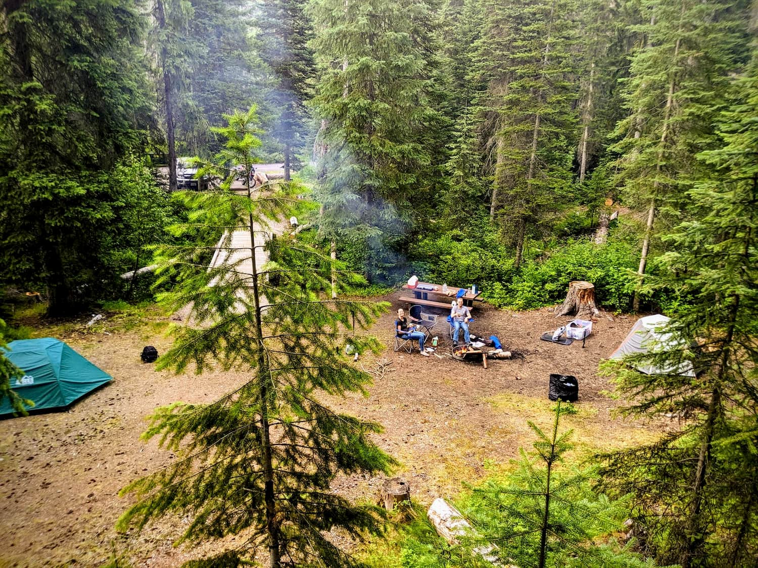 overview shot of campsite