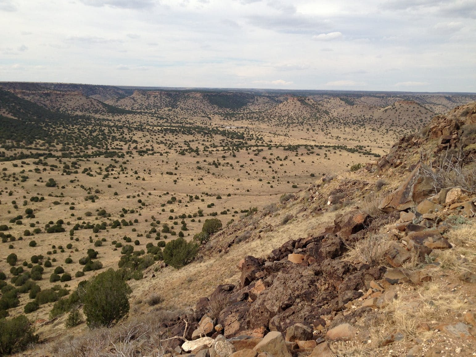 View of red rock of Black Mesa from the rim.