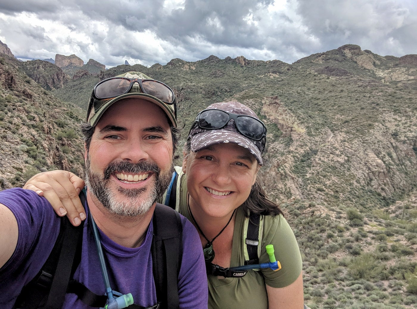 Shari and Hutch hiking in the Superstition Mountains.