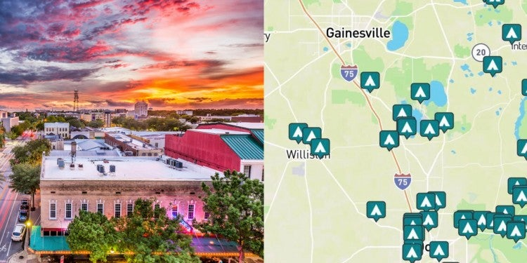 side-by-side images of downtown gainesville and a map of campgrounds around gainesville