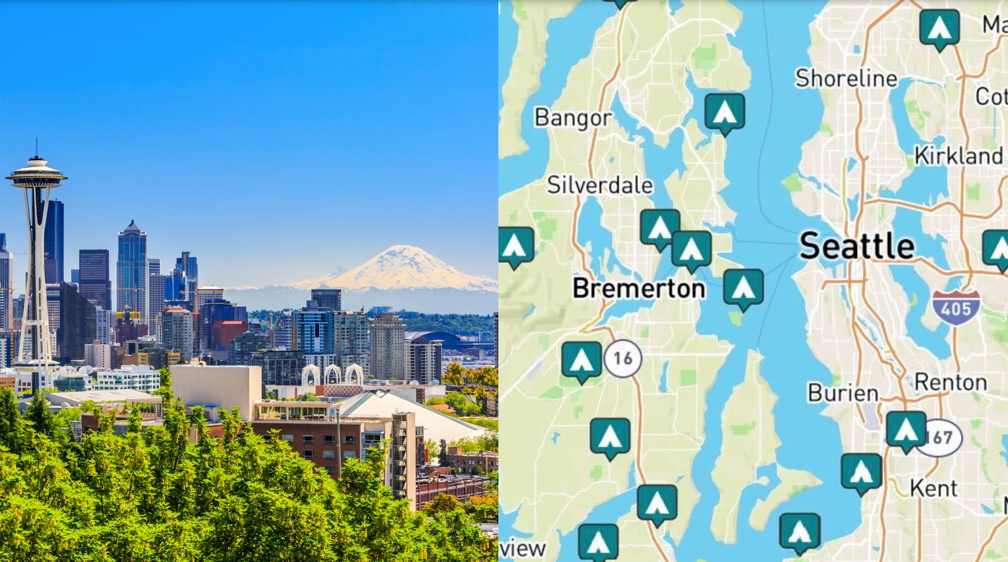 side-by-side images of seattle skyline and map of campgrounds near seattle