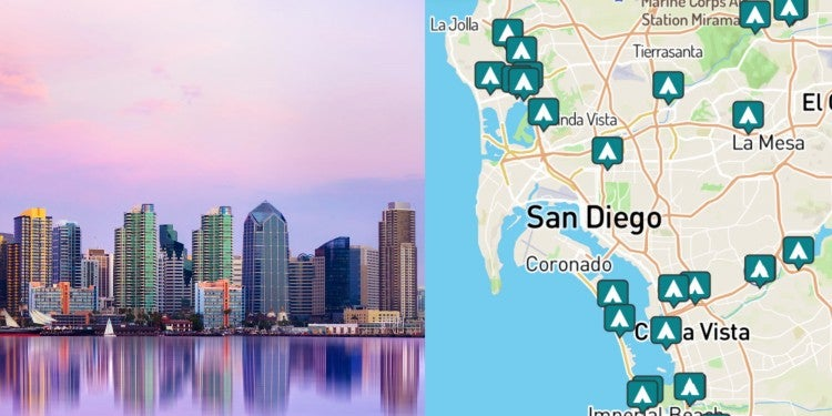 side-by-side images of San Diego skyline and a map of campgrounds around San Diego