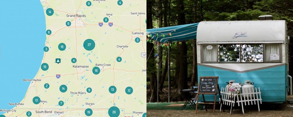 Map of Kalamazoo and Grand Rapids and a retro camper trailer parked in Michigan.