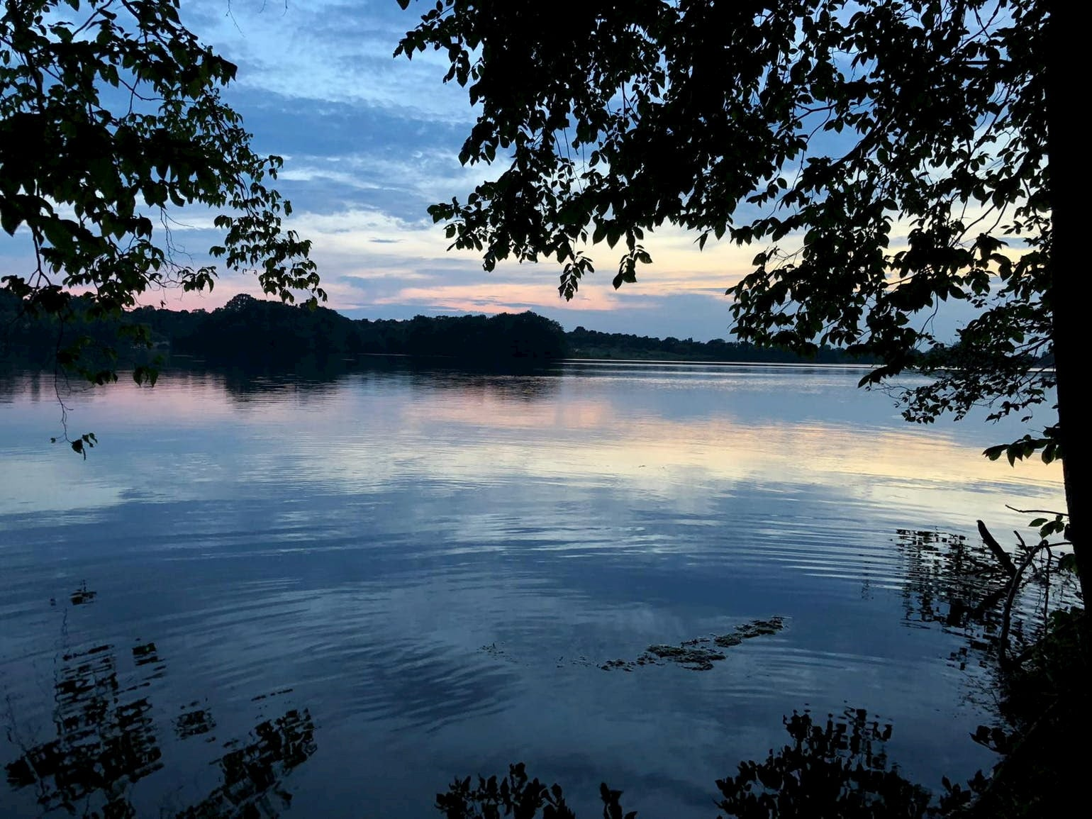 Lake at Iona Recreation Area in Michigan during dusk.