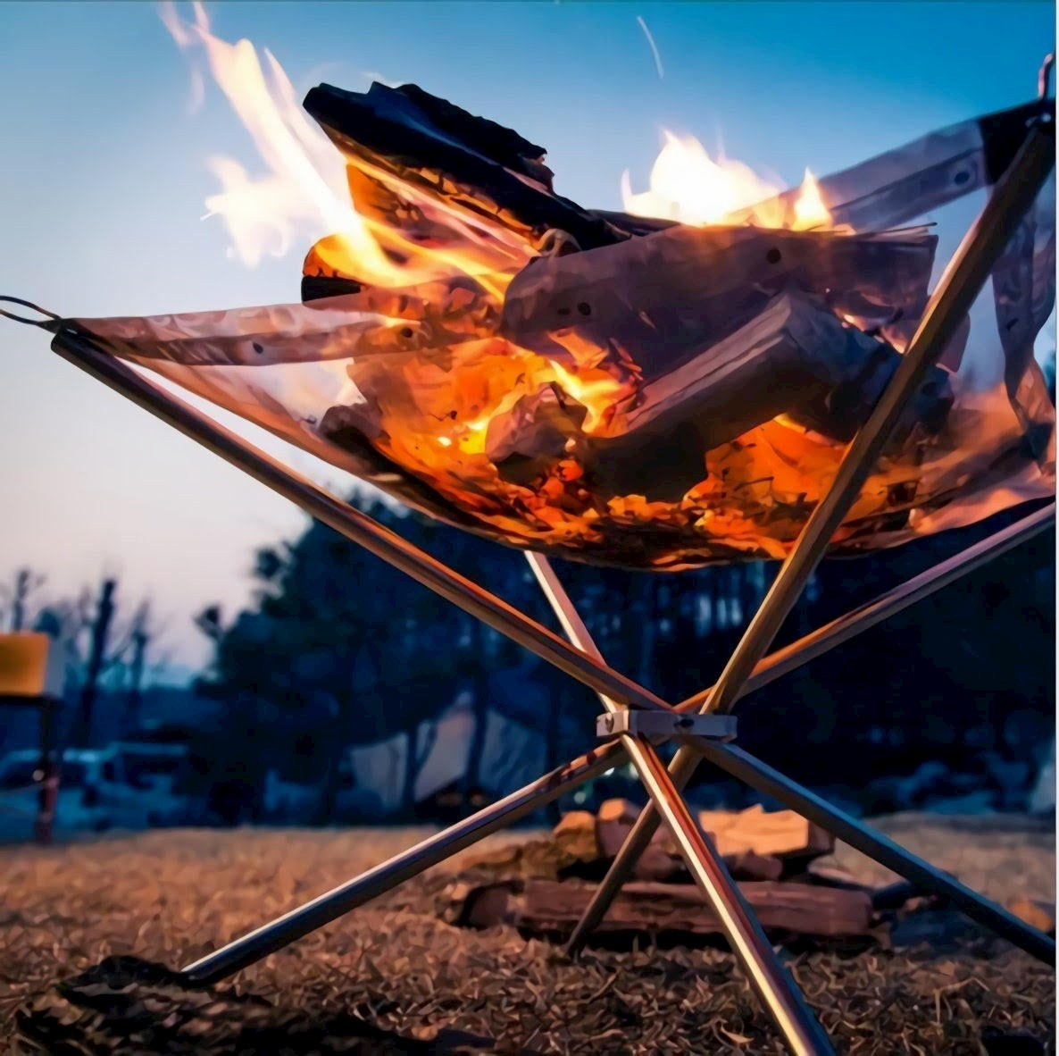 Rootless outdoors portable fire pit perfect for fall campinng.