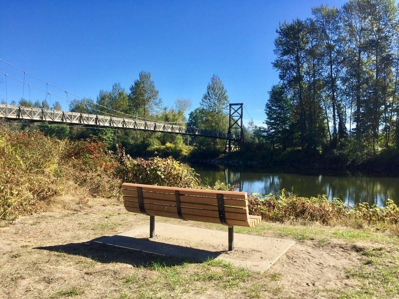 park bench looking at bridge
