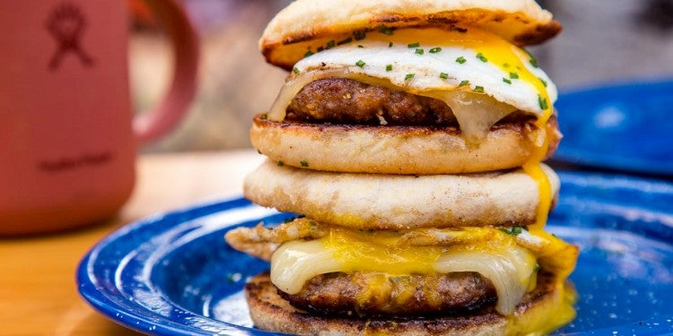 Fall camping breakfast sandwiches.