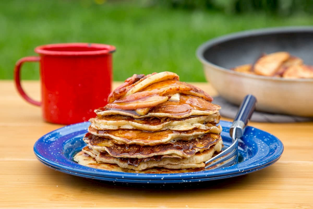 Cinnamon apple pancakes, perfect for fall camping breakfasts.