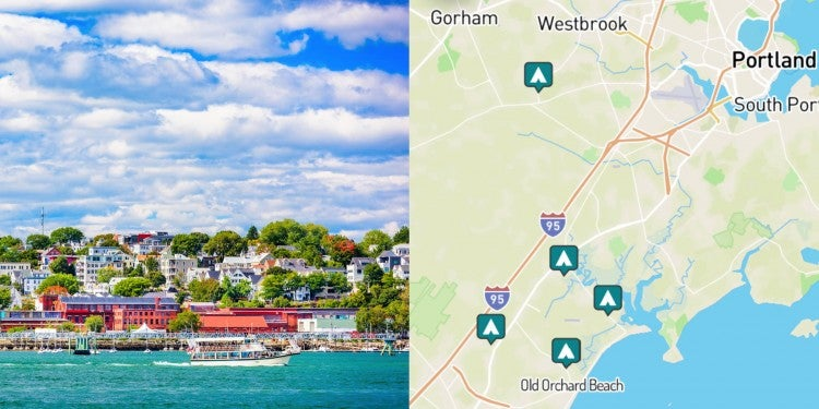 side-by-side images of Portland, Maine and a map of campgrounds near Portland