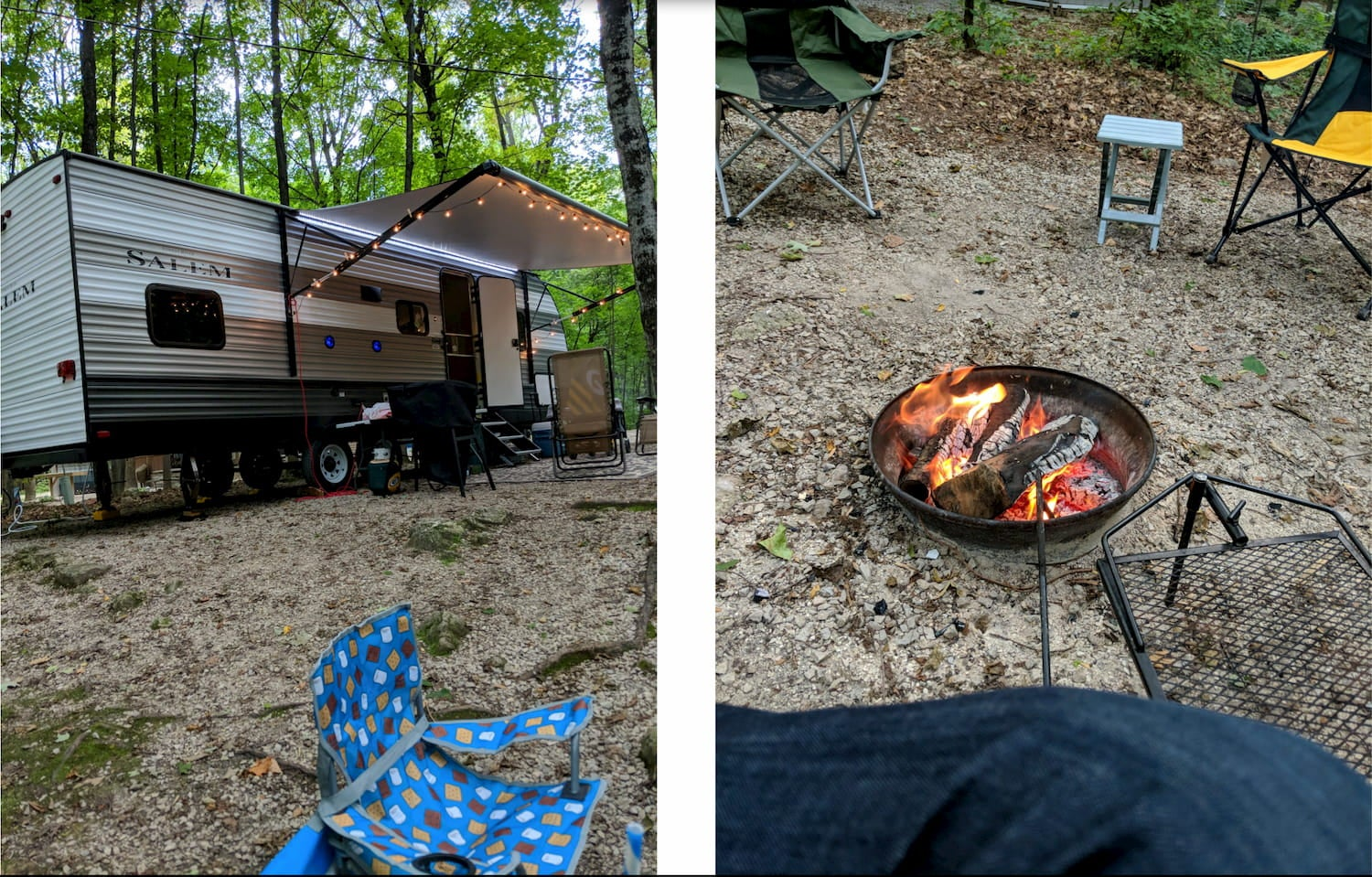 side-by-side images of camper at campsite and campfire
