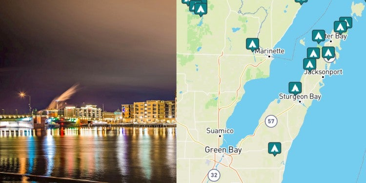 side-by-side images of Green Bay and a map of campgrounds near greenbay