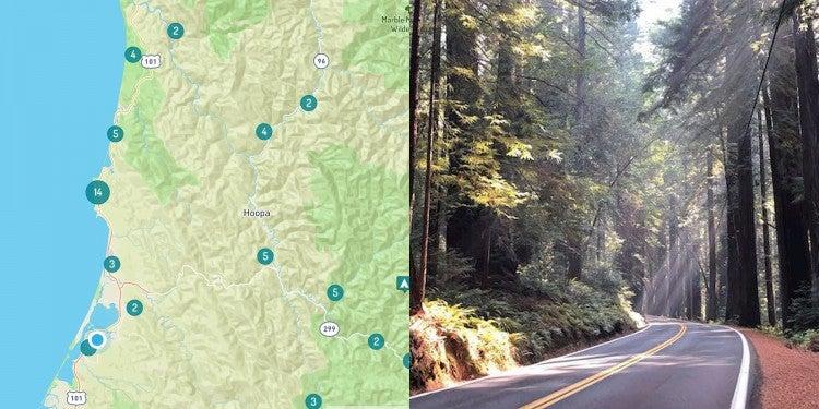 Camping near Eureka California and the northern California Coast map.