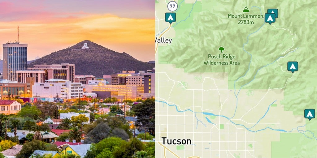 side by side images of Tucson and campgrounds around Tucson