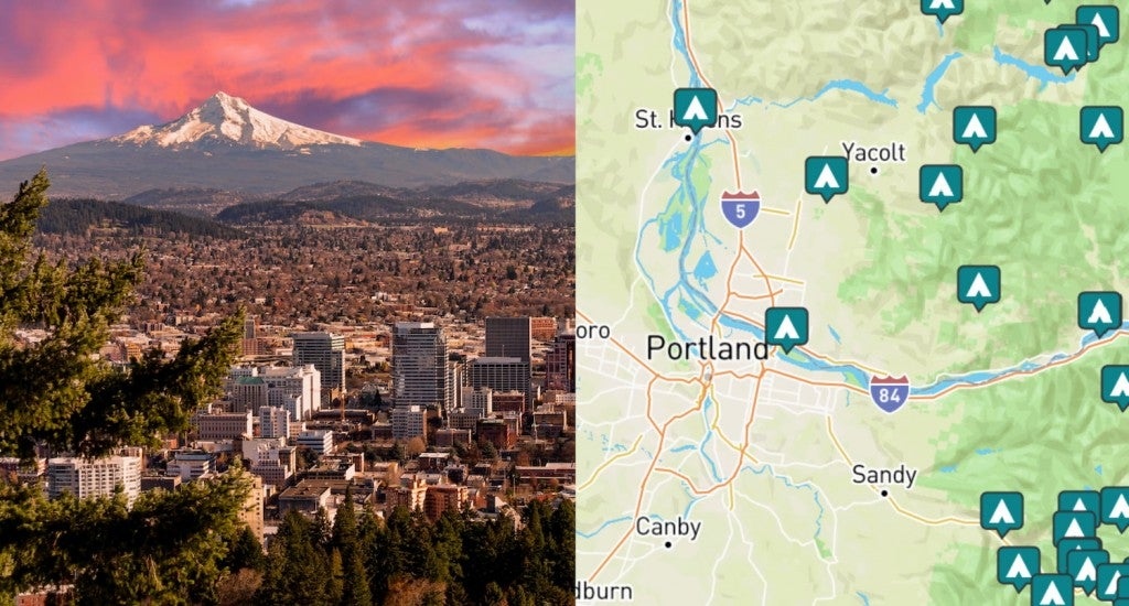 side by side images of portland downtown and a map of campgrounds around portland