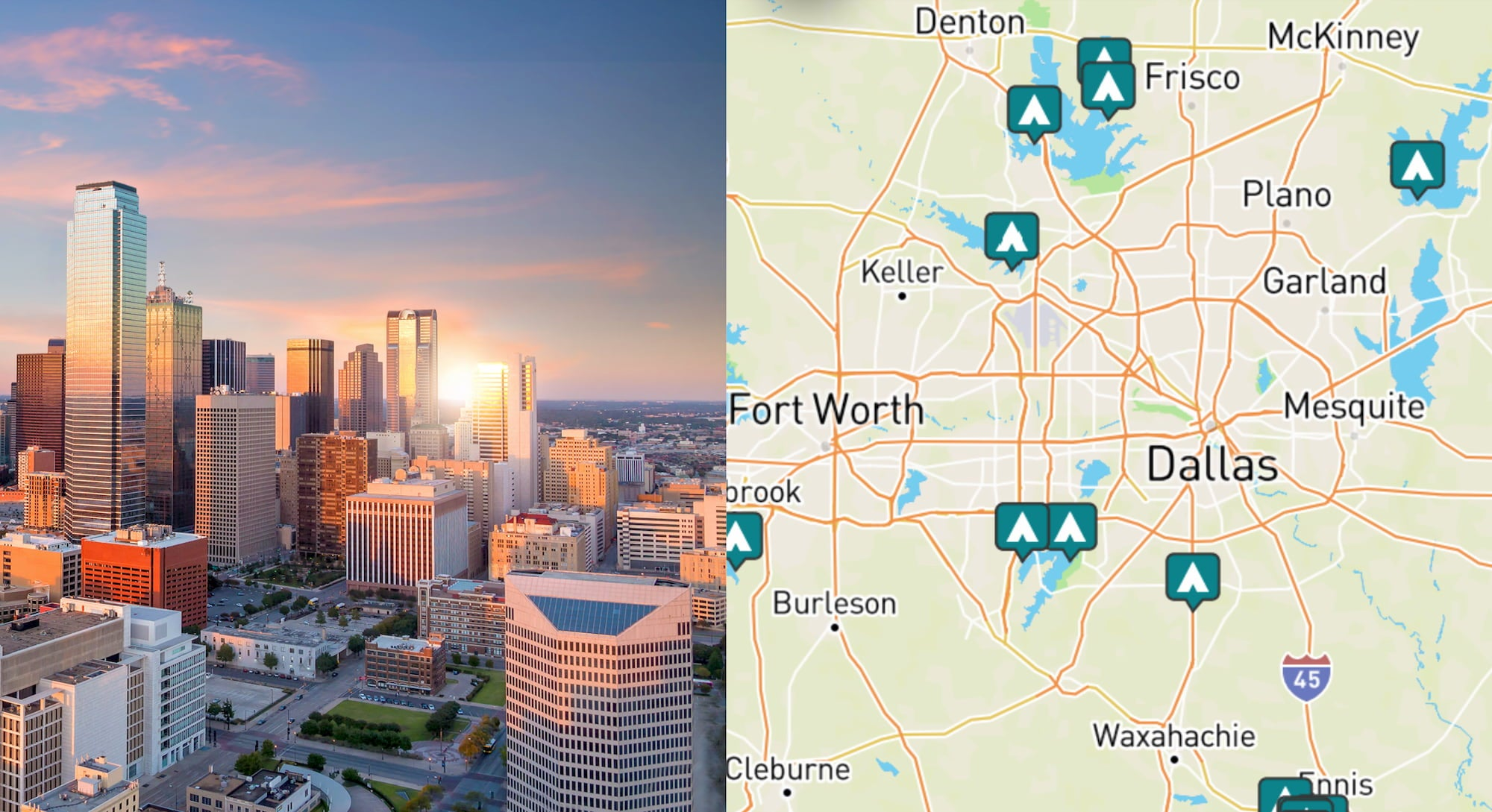 side by side images of downtown Dallas and a map of campgrounds around Dallas