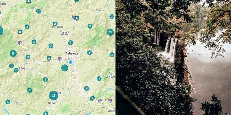 Map of camping near Asheville and waterfalls near Asheville, North Carolina.