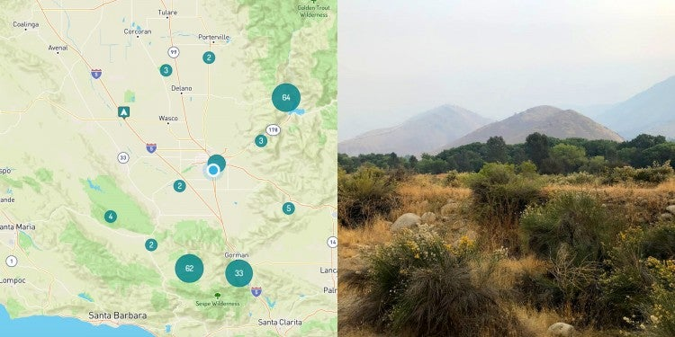Image of map of camping near Bakersfield California.