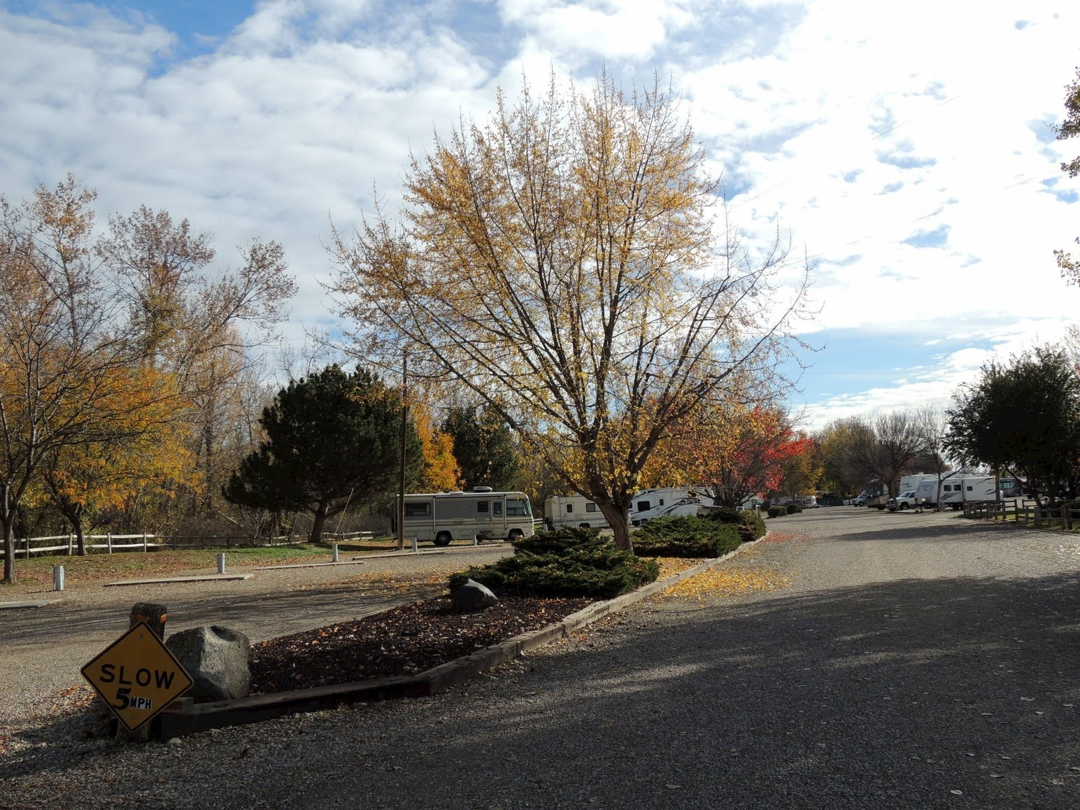 RV Campground surrounded by fall foliage.