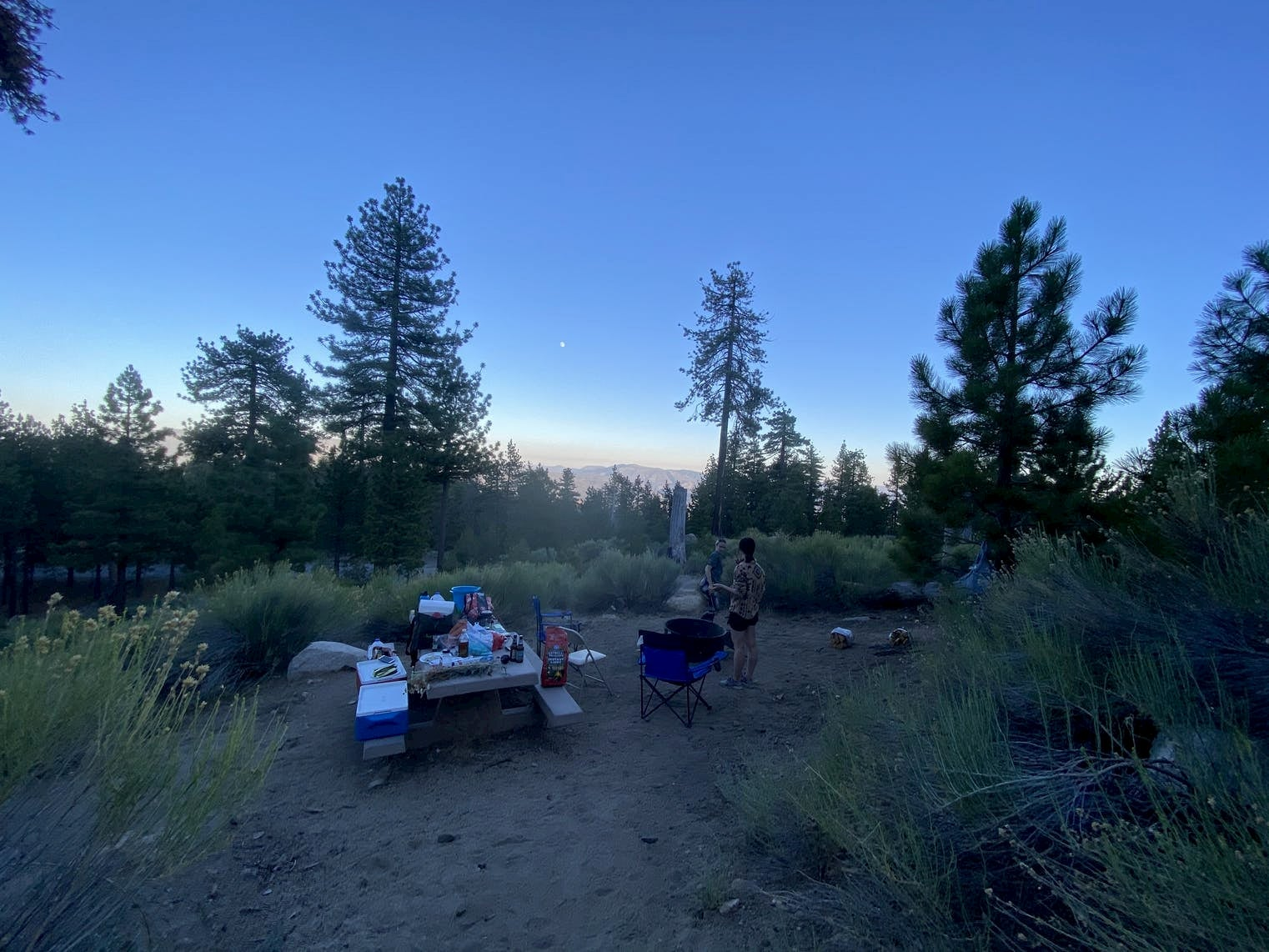 Campsite with picnic table at dusk in the mountains of California.