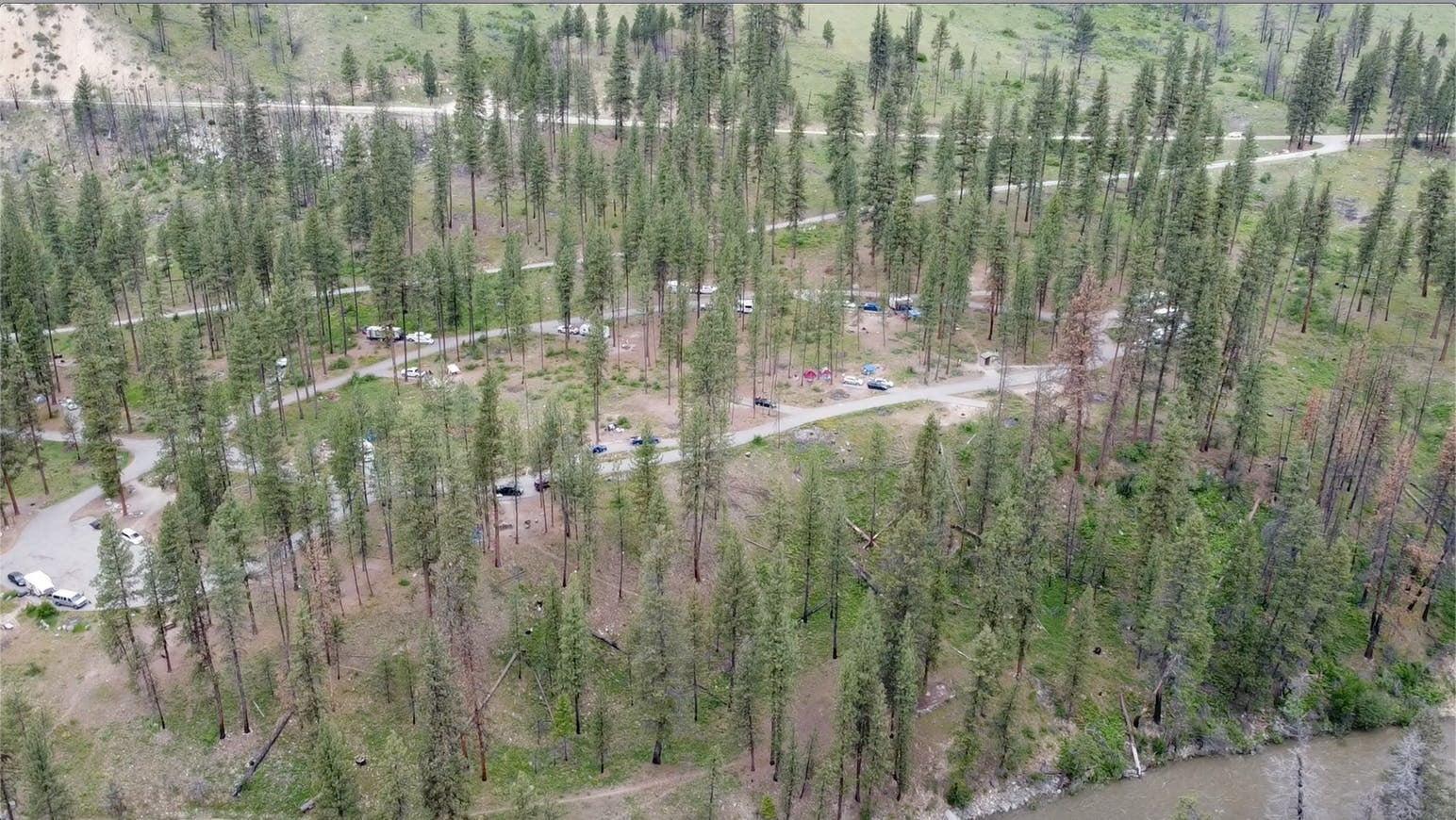 Aerial image of Pine Flats Campground, Idaho.