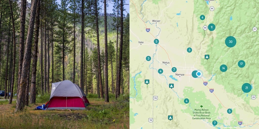 Image of campground in Boise, Idaho and map of campgrounds nearby.
