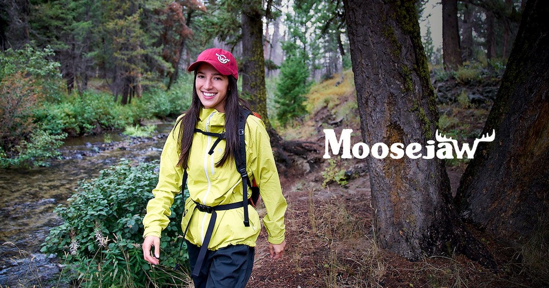 woman walking in the rain and moosejaw logo