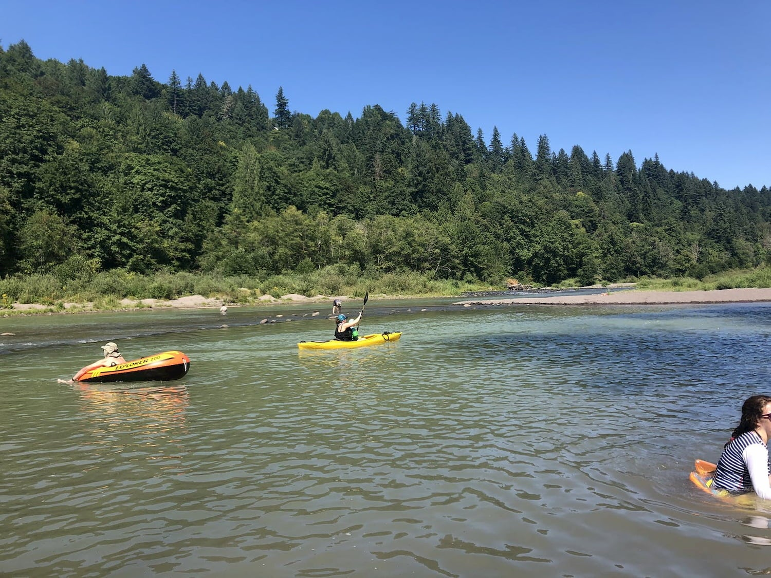 kayaks on the river