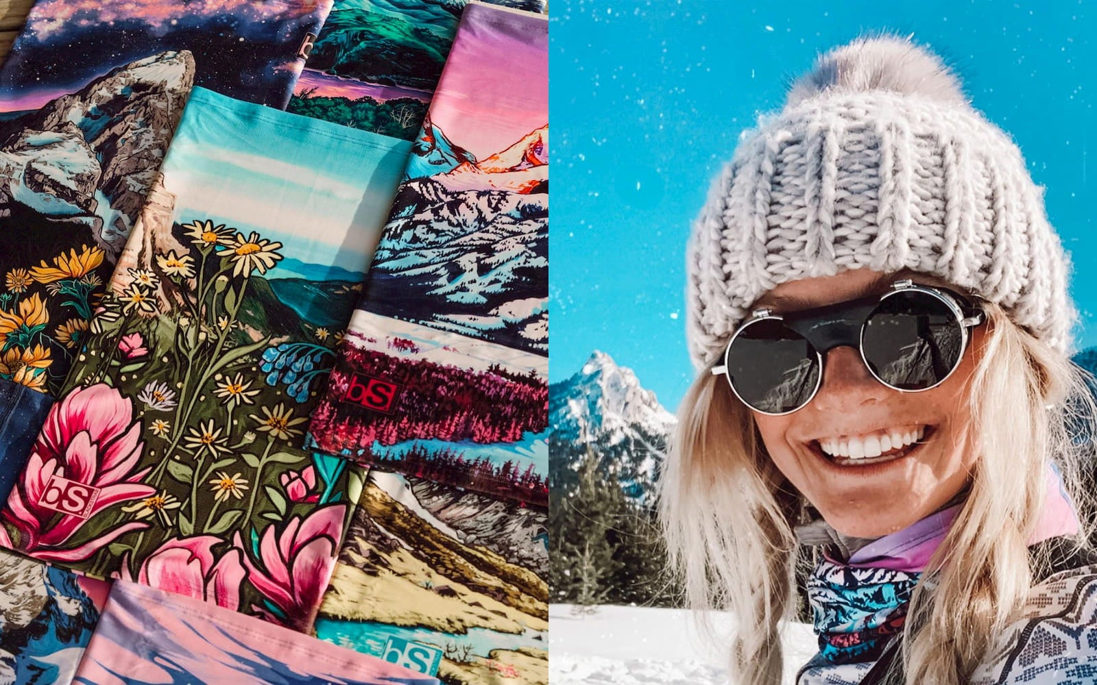 Rachel Pohl skier and painter's custom neck gaiters, a perfect camping stocking stuffer.