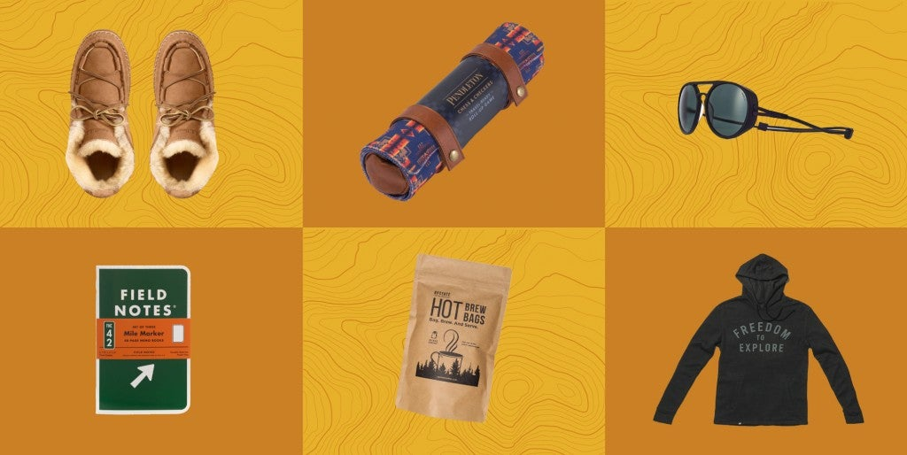 collage of camping gifts