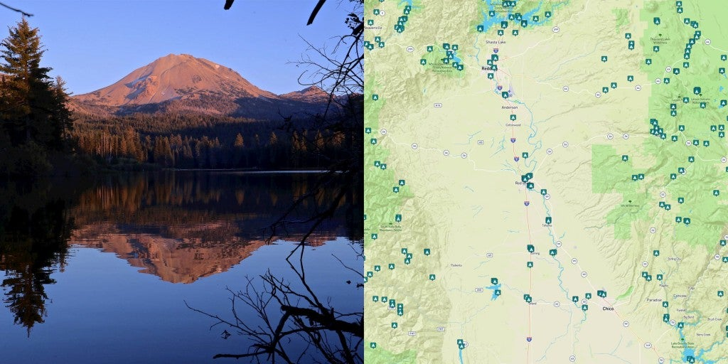 Landscape of Manzanita Lake at Lassen Volcanic and map of campgrounds near Chico and Redding in Northern California.