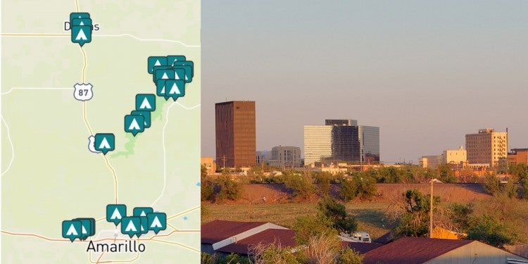 side-by-side images of campgrounds near Amarillo and a photo of downtown Amarillo