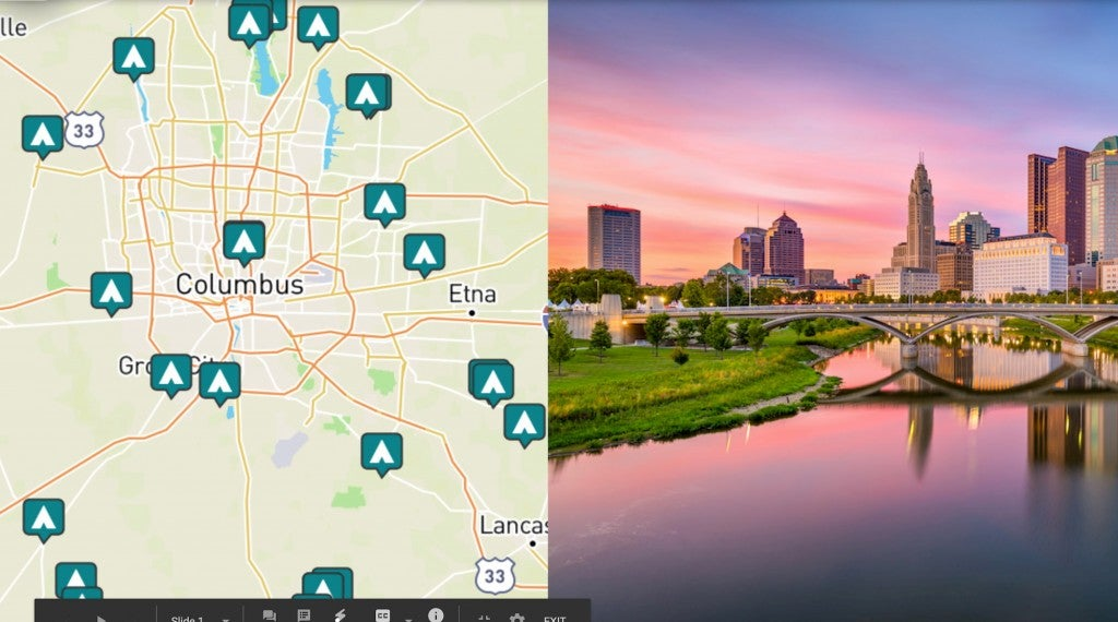 side by side images of columbus ohio and a map of campgrounds near columbus