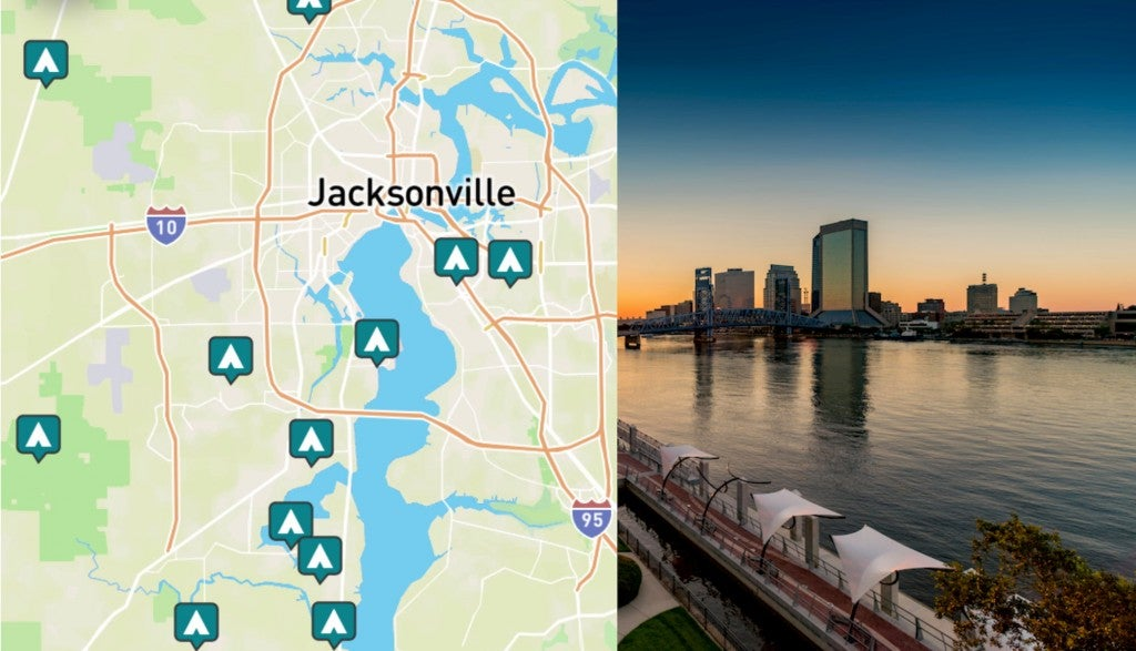 side-by-side images of Jacksonville Florida, and a map of campgrounds near Jacksonville