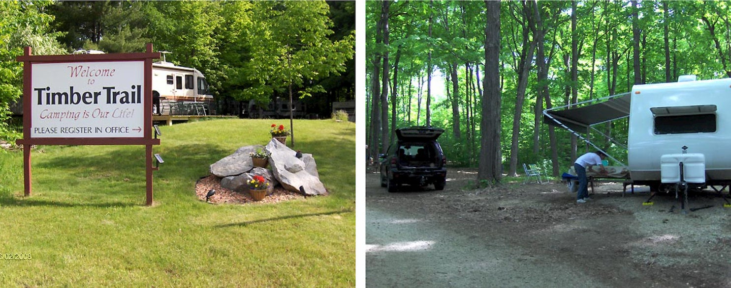 side-by-side images of sign at campsite and rv parked at campsite