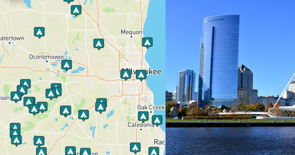 side-by-side images of camping near milwaukee and a photo of the skyline
